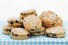 Welsh cakes stacked. Isolated on gingham cloth Stock Photography