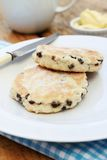 Welsh cakes stacked. Welsh cakes on plate on gingham napkin Royalty Free Stock Image