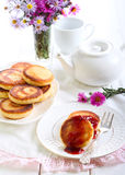 Welsh cakes with strawberry jam Stock Photos