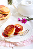 Welsh cakes with strawberry jam Stock Photo