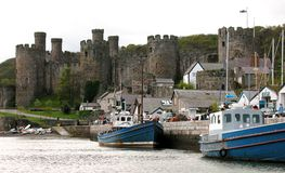 Welsh Castle - Beaumaris. View of one of the great castles in Wales - this one is of the sea port with Beaumaris in the background stock photo