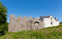 Welsh castle Oxwich The Gower Peninsula South Wales UK. Oxwich Castle The Gower Peninsula South Wales UK with beautiful clear blue sky in summer Stock Photos