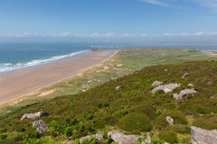 Welsh coast The Gower view from Rhossili Down Wales in summer Royalty Free Stock Images