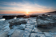 Welsh Coast. Stunning sunset over Dunraven Bay in the Vale of Glamorgan on the Welsh coast Royalty Free Stock Photo