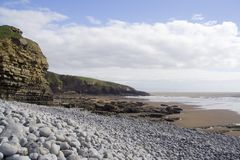 Welsh Coastal landscape. Beautiful coastal scene at Southerndown, Wales, IK royalty free stock photo