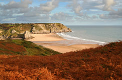 Welsh coastline. Three cliff bay in the gower peninsula in autumn stock photography