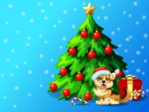 Welsh Corgi ang fir tree horizontat. A dog of Welsh Corgi breed and a fir-tree with spheres and star, a Candy cane and gift box on blue with snowflakers. A Stock Images