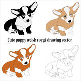 Welsh corgi cardigan drawing collage Royalty Free Stock Photos