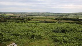 Welsh countryside from Ryers Down The Gower peninsula Wales UK stock footage