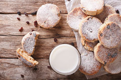 Welsh cuisine: cakes with raisins and powdered sugar close-up. h Royalty Free Stock Image