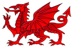 Welsh Dragon With a Bevel Effect Stock Photos