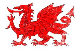 Welsh Dragon With Grunge. The Welsh Dragon isolated over a white background with grunge Stock Images