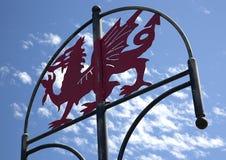 Welsh Dragon Sign, Millennium Coastal Path, Llanelli, South Wales Stock Photos