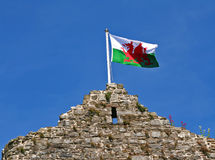 Welsh Flag. The Welsh flag on top of Mumbles Castle, South Wales UK stock image