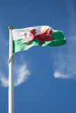 Welsh flag on blue sky Royalty Free Stock Images