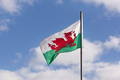 Welsh Flag. A Welsh flag flying from a pole the red dragon or Y Ddraig Goch of Cadwaladr King of Gwynedd dates back to circa 655ad and is ancient symbol of Wales Stock Images