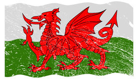 Welsh Flag Grunged Royalty Free Stock Photography
