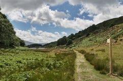 Welsh Footpath Signpost. A Welsh footpath signpost on the well known Precipice walk near Dolgellau, Gwynedd, North Wales Royalty Free Stock Photography