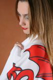 Welsh Girl. Beautiful young female model with a Welsh Flag Stock Photography