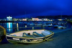 Welsh Harbour at Night Stock Photography