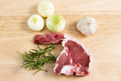 A Welsh lamb chop with herbs Stock Images