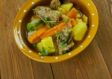 Welsh Lamb Hotpot. With Vegetables - Cawl Stock Photos