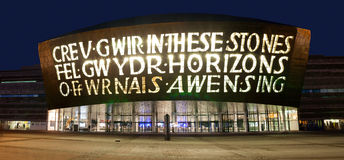Welsh Millenium Centre at Night Royalty Free Stock Photos