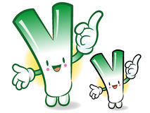 Welsh onion mascot the direction of pointing with both hands. Ve Royalty Free Stock Photo