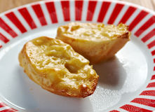 Welsh Rarebit. Toasted  bread with melted cheddar cheese Royalty Free Stock Photos