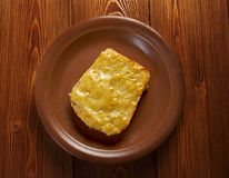 Welsh Rarebit. Toasted  bread with melted cheddar cheese Royalty Free Stock Images