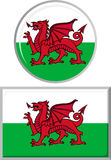 Welsh round and square icon flag. Vector Royalty Free Stock Photos