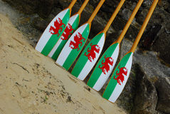 Welsh Rowing Oars. Rowing Oars in Welsh Colours at the 20th Annual Pilot Gig World Championships, Isles of Scilly Stock Image