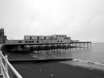 Welsh Seaside Pier - Aberystwyth - Cloudy Day Stock Photos