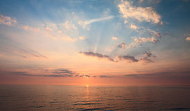 Welsh Sunset. Sunset taken from Aberystwyth showing the sun setting in Cardigan Bay stock photography