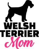 Welsh Terrier mom silhouette Royalty Free Stock Images