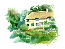 Welsh traditional house in the garden, England. Watercolor hand drawn landscape. Touristic view for cards, booklets or other design royalty free illustration