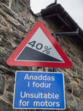 Welsh traffic sign Royalty Free Stock Images