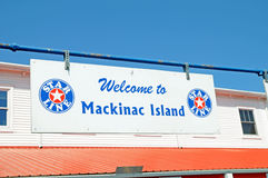 Welsome to Mackinac Island SIgn. Image of the 5Mackinac Island Welcome SIgn Royalty Free Stock Image