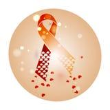 Welt-Aids-Tag-Band-Schleifenzeichen mit Fliegenherzen im Kreis 1 von Dezember Weltkrebs-Tag am 4. Februar Auch im corel abgehoben Stockfoto