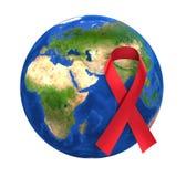 Welt-Aids-Tag-Bewusstseins-Kugel-Rot-Band lizenzfreie abbildung