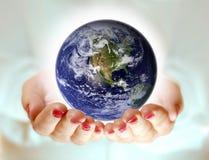 Welt in der Hand Stockfoto