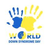 Welt-Down-Syndrom Tag mit blauem und gelbem Handfarbenzeichen- und Gesichtsdown-syndrom Zeichenvektorfahnendesign lizenzfreie abbildung