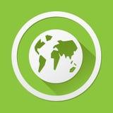 Welt-Eco-Ikone, die für irgendwelche groß ist, verwenden Vektor eps10 Lizenzfreie Stockfotos