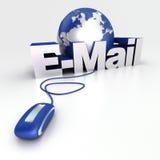 Welt-eMail im Blau Stockbilder