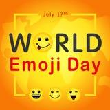 Welt-Emoji-Tag mit Beschriftung und Lächeln Emoticon, am 17. Juli Stockfotos