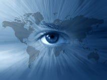 Welt-Karte und blaue Augen Stockfotografie