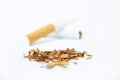 Welt kein Tabak-Tag und Tabak auf weißem Hintergrund Lizenzfreie Stockfotografie