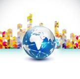 Welt mit Kommunikationskonzept- und -zusammenfassungsstadtgebäude, Vektor u. Illustration Lizenzfreie Stockfotografie