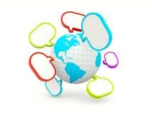 Welt mit Spracheluftblasen Stockbild