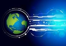 Welt mit Technologiehintergrund Lizenzfreies Stockfoto
